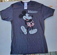 Mens Disney Brand Gray MICKEY MOUSE Short Sleeve T-shirt - Size Medium - New
