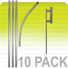 10 Pack -Swooper Feather Flag Pole 15' + Spike Kit Flutter Banner Sign Wholesale
