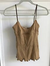 Marni Tan Ribbed Tank Top W/Spaghetti Straps Size Medium