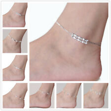 925 Sterling Silver plated Anklet Foot Chain Ankle Bracelet Women Beads Boho