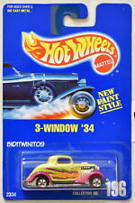 HOT WHEELS 1991 BLUE CARD 3-WINDOW '34 #196 YELLOW-GREEN 12 W+