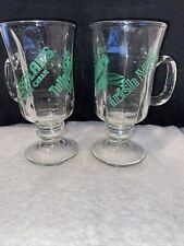 Set Of 2 Carolans Tullamore Dew Irish Mist Irish Coffee Glasses (footed)