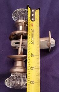 ANTIQUE VINTAGE MANY POINT GLASS DOOR KNOBS with BRASS BASE and hardware shown