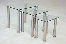 Clear Glass Nest of Tables Three Piece Lamp Side End Coffee Table Set