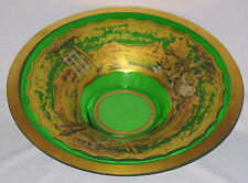 BOHEMIAN ART GLASS EMERALD GREEN HP GOLD & SILVER ROUND CENTER BOWL CIRCA 1930