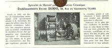 TOURS (37) ETS VVE DUBOIS / MATERIEL POUR INDUSTRIES CERAMIQUES / ADP 1923