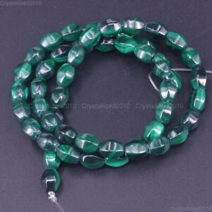"""Grade AAA Natural Malachite Gemstone Faceted Oval Rice Beads 6mm 8mm 10mm 15.5"""""""