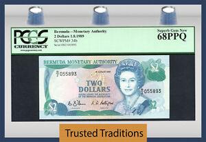 TT PK 34b 1989 BERMUDA 2 DOLLARS QUEEN ELIZABETH II PCGS 68 PPQ SUPERB GEM NEW