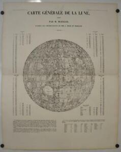 MOON 1854 VON MÄDELR UNUSUAL LARGE ANTIQUE LITHOGRAPHIC CELESTIAL CHART