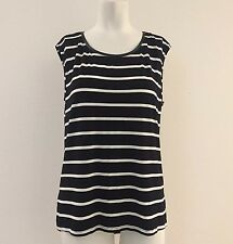 Forever 21 Women's Size Medium Cap Sleeve Black White Stripe Top