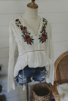 M Boho Gauze Swiss Dot Peasant Top Blouse Floral Embroidered Medium NWT