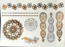 Flash Temporary Tattoo Metallic Einmal Gold Silber Armband Henna Sticker Neu