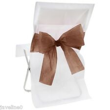 10 Housses de Chaise Blanche et Noeud Chocolat Decoration Salle de Mariage