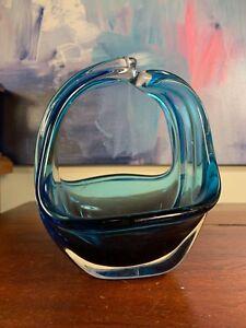 Lovely Vintage Blue Murano Italian Handmade Art Glass Basket bowl