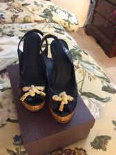 Tory Burch Navy Blue Wedge Sandals - Size 9.5