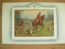 VINTAGE POSTCARD CHRISTMAS CARD -  HEARTY CHRISTMAS GREETINGS - HUNTING SCENE