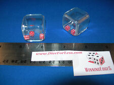 """CLEAR ACRYLIC 1"""" CUBE WITH 3 RED DICE INSIDE 1 PAIR FREE SHIPPING"""