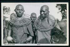 Masai tribal necklace Ethnic black South Africa original c1950 photo postcard
