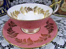 AYNSLEY ATHEN STYLE TEACUP BLUSH PINK GOLD GILT DESIGNS TEA CUP & SAUCER