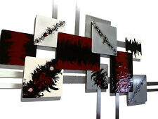 Blazing Burgundy Contemporary Abstract Wood Metal Wall Sculpture 36x24 by Art69