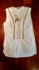 Verde Mela (Neiman Marcus) White Cotton Silk Blend Top w/Flowers Ruffles - Sz 14