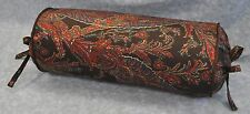 Neckroll Pillow made w Ralph Lauren Bedford Hunt Brown Paisley Fabric trim cord