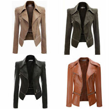 Plus Size 8-20 Women Faux Leather PU Cropped Biker Jacket Lady Outwear Parka NEW