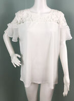 NWT Womens Anne Klein S/S White Lace Yoke Flutter Sleeve Blouse Top Sz XL