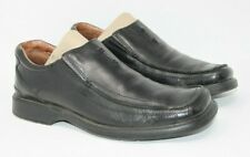 Clarks Size 8.5 M Black Leather Square Apron Toe Slip On Casual Shoes 78340