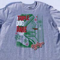 "Funko Mens T-Shirt A Christmas Story ""I Triple Dog Dare You"" Size L Gray NEW"
