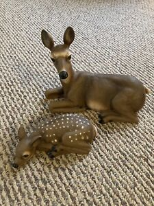 Vintage Home Interiors Deer Figurines Set Of 2