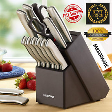 New Faberware 15Piece Artiste Collection Cutlery Knife Block Set Stainless Steel
