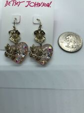 $32 Betsey Johnson Lucite Crystal Heart  Gold Flower Butterfly DROP Earrings K12