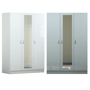 3 Door Mirrored Wardrobe - Grey/ White Gloss - Modern Bedroom Furniture