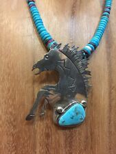 SECATERO Vintage Old Pawn TURQUOISE WAMPUM STERLING HORSE Necklace
