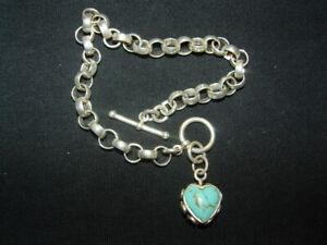 925 sterling silver heart charm chain bracelet 14.58g
