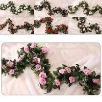 240cm Artificial Flower Silk Rose Leaf Garland Vine Ivy Floral Wedding Home Room