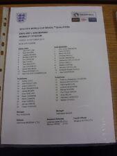 12/10/2012 Colour Teamsheet: England v San Marino [At Wembley] (minor folding/cr