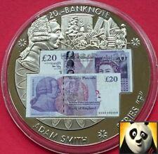 LARGE 40mm £20 TWENTY POUND BRITISH BANKNOTE STICKER MEDAL COIN ADAM SMITH