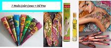 7 Golecha Multi Colour Henna Cones Quick Dry Instant Body Mehndi Art Ink+ oil