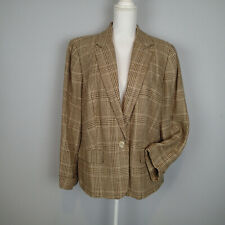 brown beige RALPH LAUREN jacket blazer 100% linen woman plus 18W  c1