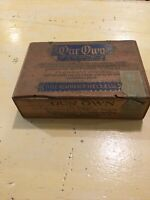 Vintage Advertising Wood Cigar Box Blue Gold Our Own