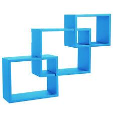 Wandregal Bücherregal Hängeregal Regal Büroregal Holz CD Buch blau 9220