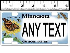 CUSTOM PERSONALIZED BICYCLE STATE LICENSE PLATE-MN CRITICAL HABITAT-BUTTERFLY