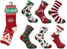 6 Pairs - Co-Zees Ladies Christmas Socks Fluffy Christmas Sleep Socks Xmas Santa