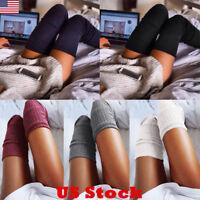 Women Over Knee Wool Knit Long Socks Winter Thigh-Highs Socks Warm Stocking B4S7