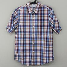 VTG Stussy Deluxe Mens Small Plaid Pocket Skate Collared Button Up Shirt D358
