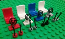 *NEW* Lego Bulk Red White Blue Chairs Seats Steering Wheels Gear Levers Cars