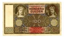 "Netherlands ... P-51c ... 100 Gulden ... 1944 ... *VF-XF* ... Prefix ""FP"""
