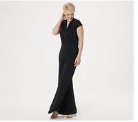 Lisa Rinna Collection Petite Small Surplice Wide Leg Jumpsuit Black A353583